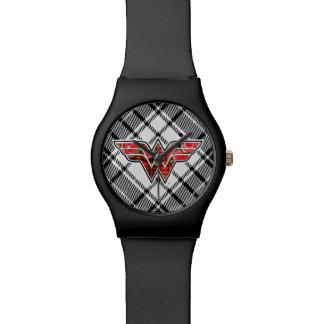 Rote Rosen und kariertes Wunder-Frauen-Logo Uhren