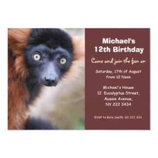 Rote Ruffed Lemur-Geburtstags-Party Einladung