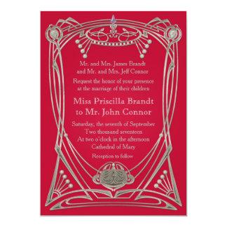 Rote Ruhe u. Silber der Hochzeitseinladung 12,7 X 17,8 Cm Einladungskarte