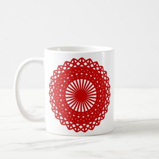 Rote runde Spitze-Muster-Grafik Kaffeetasse