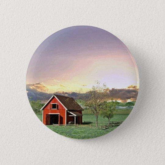 Rote Scheune am Sonnenuntergang Runder Button 5,7 Cm
