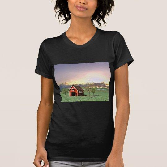 Rote Scheune am Sonnenuntergang T-Shirt