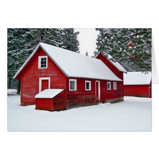 Rote Scheunen im Schnee Mitteilungskarte