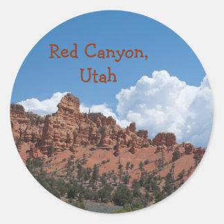 Rote Schlucht, Utah-Schablonen-Andenken Runder Aufkleber