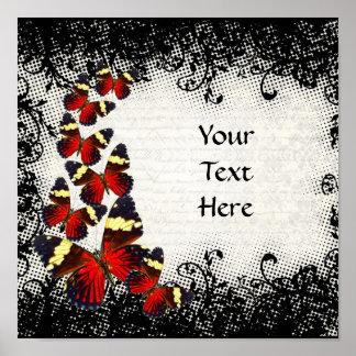 Rote Schmetterlinge auf schwarzer Spitze Poster