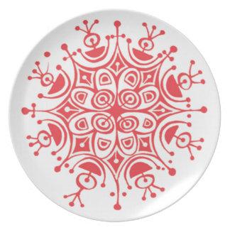 Rote Schneeflocke-Melamin-Platte Essteller