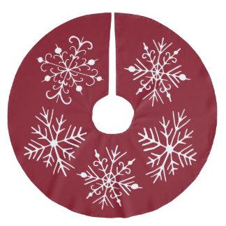 Rote Schneeflocke-Weihnachtsbaum-Rock-Dekoration Polyester Weihnachtsbaumdecke
