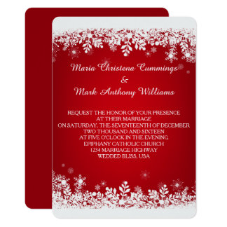 Rote Schneeflocke-Winter-Hochzeits-Einladung 12,7 X 17,8 Cm Einladungskarte