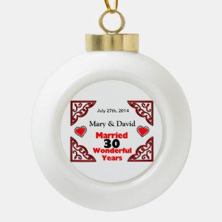 Rote schwarze Herz-Namen u. datieren 30 Keramik Kugel-Ornament