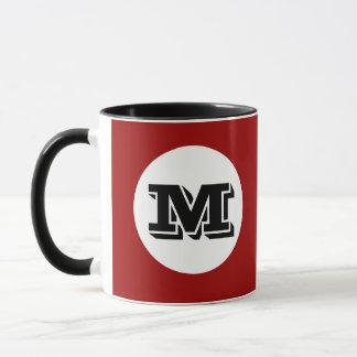 Rote schwarze Monogramm-Gewohnheit Tasse
