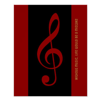 rote schwarze musikalische Anmerkung (dreifacher Poster
