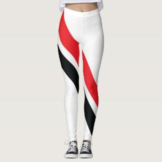 Rote/schwarze Streifen auf weißen Gamaschen 1 Leggings