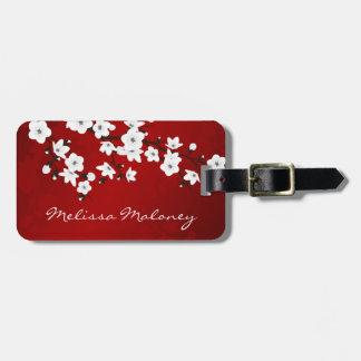 Rote Schwarzweiss-Kirschblüte personifizieren Gepäck Anhänger