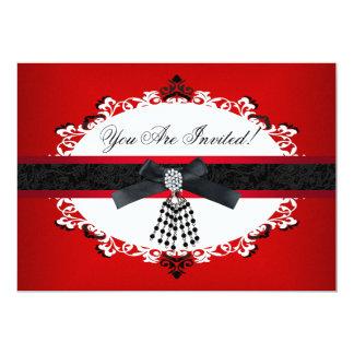Rote Schwarzweiss-Party-jede Anlässe elegant 12,7 X 17,8 Cm Einladungskarte
