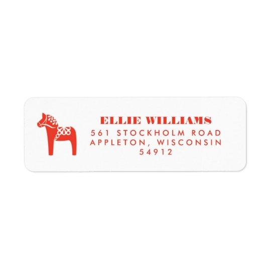 Rote Schwede Dala Pferdefeiertags-Rücksendeadresse Rückversand-Adressaufkleber