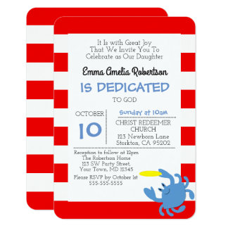 Rote Seekrabben-personalisierte kleine Taufe 8,9 X 12,7 Cm Einladungskarte