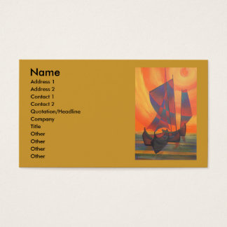 Rote Segel im Sonnenuntergangcubist-Kram abstrakt Visitenkarte