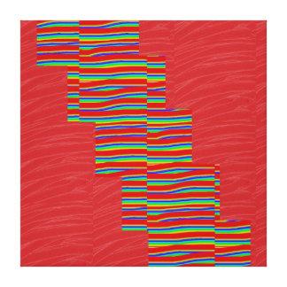 Rote seidene Gewebe SCHEIN Streifen: NOVINO Leinwanddruck