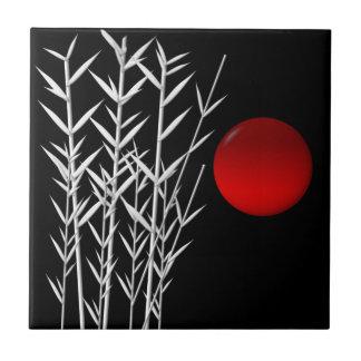 Rote Sonne Schwarz-weißer Zen Fliese