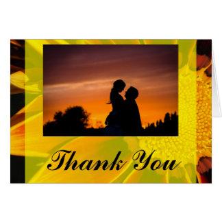 Rote Sonnenblume-Hochzeit danken Ihnen zu Karte