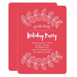 Rote Stechpalmen-wunderliche Feiertags-Party Karte