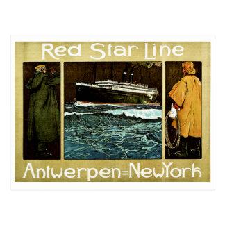 Rote Stern-Linie Antwerpen nach New York Postkarten