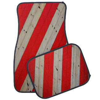 Rote Streifen und Holz-Entwurfs-Set von 4 Autofußmatte