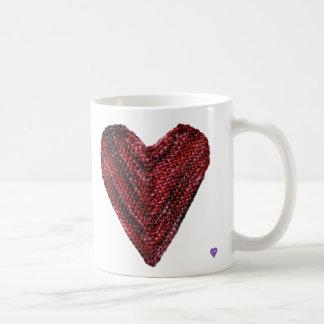 Rote Strick-Herz-Tasse Kaffeetasse