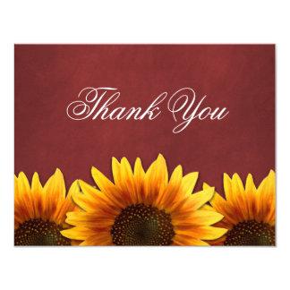 Rote Tafel-Sonnenblume-Hochzeit danken Ihnen 10,8 X 14 Cm Einladungskarte