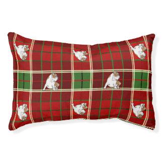 Rote Tartan-Bulldogge Haustierbett