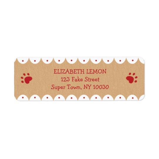 Rote Tatze druckt kleine Adressen-Etiketten Rücksendeetiketten