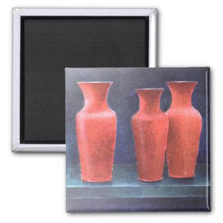Rote Töpfe 1988 Quadratischer Magnet