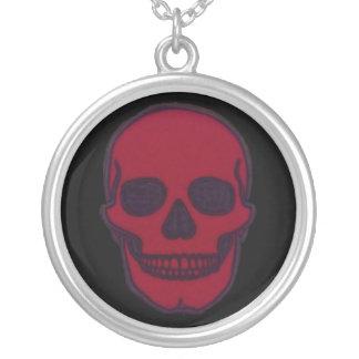 Rote tote Schädel-Marke Halskette Mit Rundem Anhänger