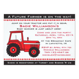 Rote Traktor-Babyparty-Einladung Karte