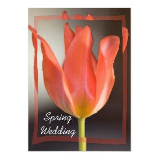 Rote Tulpe-Frühlings-Hochzeits-Mitteilung 12,7 X 17,8 Cm Einladungskarte