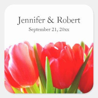 Rote Tulpen, die Aufkleber Wedding sind