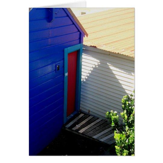 Rote Tür-blaue Gruß-Karte Grußkarte