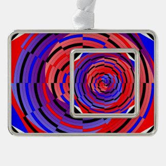 Rote u. blaue Zähler-Spirale Rahmen-Ornament Silber