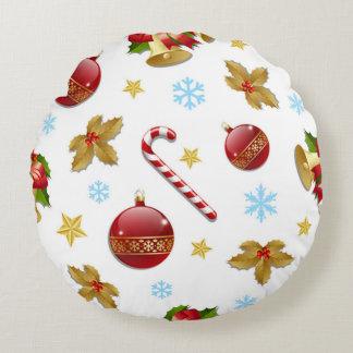 Rote u. goldene Weihnachtsbälle, Rundes Kissen