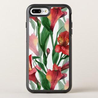 Rote u. grüne Lilien-Illustrations-nahtloses OtterBox Symmetry iPhone 8 Plus/7 Plus Hülle
