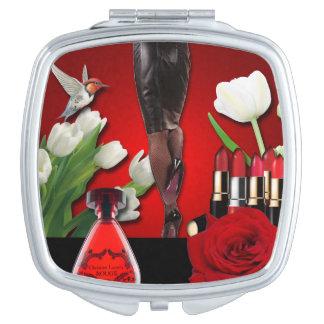Rote u. schwarze Girly Mode Schminkspiegel