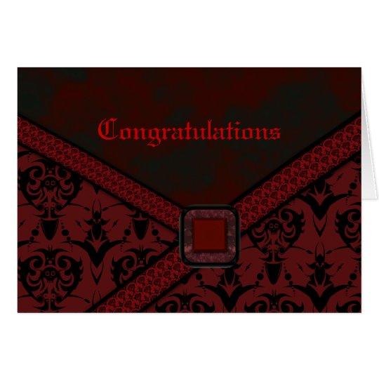 Rote u. schwarze Goth Spitze-Hochzeit Grußkarte