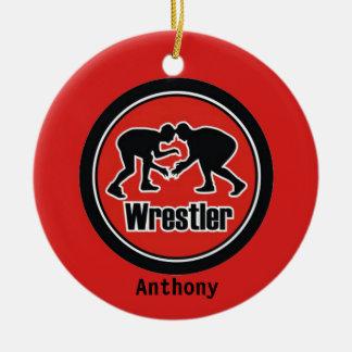 Rote u. schwarze Ringkämpfer-Weihnachtsverzierung Keramik Ornament