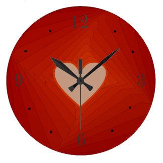 Rote Uhr mit Liebe-Herz Centre>Valentines Große Wanduhr
