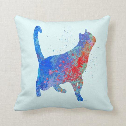 Rote und blaue Spritzen-Katze Kissen