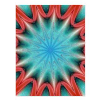 Rote und blaue Sternexplosion-Postkarte Postkarte