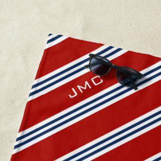 rote und blaue Streifen des Monogramm-3-Letter Strandtuch