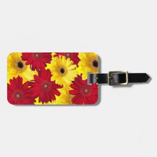 Rote und gelbe Gerber Gänseblümchen-Fotografie Adress Schild