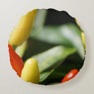Rote und gelbe Paprika-Pflanze Rundes Kissen