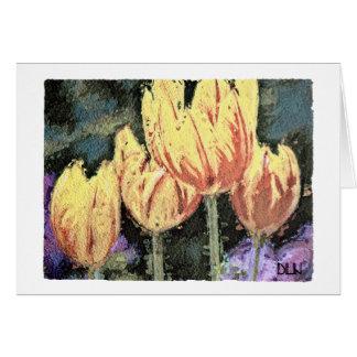 Rote und gelbe Tulpen mit Blumen/Aquarell-Blick Karte